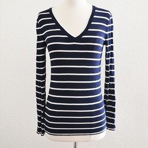 Navy Blue Striped Tshirt Long Sleeve Size S